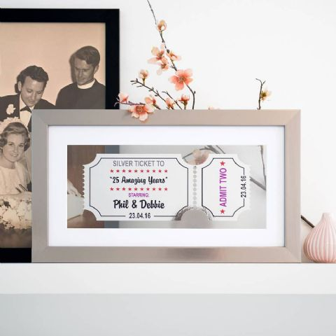 Personalised Silver Anniversary Framed Ticket
